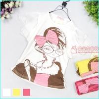 2013 summer children's clothing girl rhinestones cartoon print small female child 100% cotton short-sleeve T-shirt