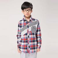 free shipping 2013 autumn male child 100% cotton long-sleeve plaid shirt