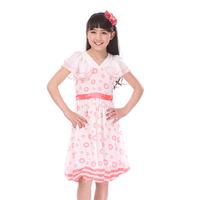 free shipping Children's clothing female child summer 2013 princess short-sleeve chiffon polka dot one-piece dress dance dress