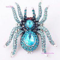 wholesale 1pcs blue crystal rhinestone vivid spider stretchy rings