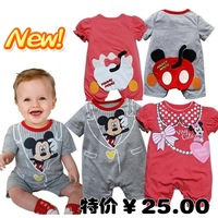 free shipping New arrival baby bodysuit summer male short-sleeve romper clothes and climb newborn clothing clothes 2