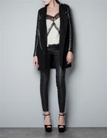 2014 New Women PU Leather Patchwork Woolen Coats Long Sleeve Coat Jacket Overcoat Ladies Outerwear in Stock