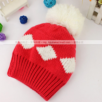 Square pattern hat macrospheric millinery winter hat qbk knitted hat