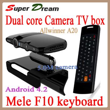 2pcs=1pcs mele keyboard+1pcs EU3000(updated by EU2000/HD2)5.0M camera Allwinner A20 RAM 1GB/8GB skype android 4.2 tv box&sticks