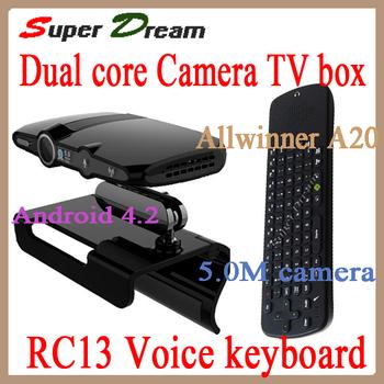 2pcs=1pcs RC13 voice keyboard+1pcs EU3000(updated by EU2000/HD2)5.0M camera dual core RAM 1GB/8GB skype android 4.2 tv box&stick