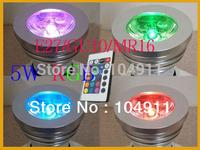 Energy Saving 5W GU10 E27 MR16 E14 RGB LED Spogtlight led Bulb Lamp light  16 Colors changing IR Remote 6pcs/lots