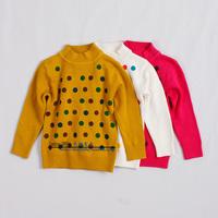Children's clothing 2013 spring and autumn dot 100% cotton female child sweater basic shirt child sweater turtleneck sweater