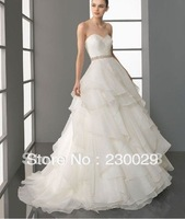 Free Shipping A Line Hot Sale Organza Bridal Wedding Dress custom size&color Organza Sweetheart Cheap Bridal Gowns