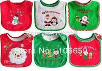Baby Christmas Bibs Gift Snowman Bib Baby Stay Dry Dribble Bibs Infant Boy Gir Cotton Bibs For 0-3T