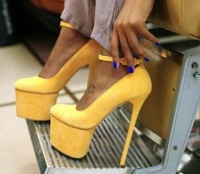 Super Yellow Platform Suede Designer Heels 2013 Pumps Dropship