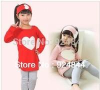2014 autumn child female child long-sleeve T-shirt trousers hair accessory set  3pcs/set
