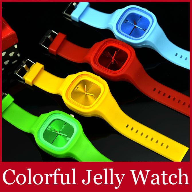 Colorful Jelly Wrist Watch Silicone Band Quartz Analog Square Big Dial Women Ladies Girl Children Wristwatch FREE SHIPPING(China (Mainland))