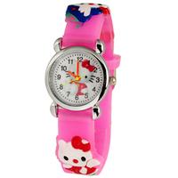 Free Shipping! 1PC New Silicone Pink Children Kids Girls Cute Hello Kitty 3D Cartoon Quartz Watches Gift
