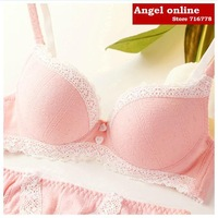 Free shipping! Cloer single-bra female pink cozy cotton sweet women's underwear set thin cup