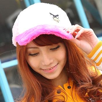 16 autumn and winter male women's hat three-color cartoon plush baseball cap ball cap