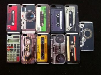 Retro Vintage Camera Casstte Tape Game  Design Hard PC Case Cover for iPhone 5,  Mix Color 100pcs