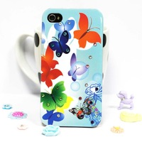 Promotion Fashion Flowers Butterflies Rhinestone Plastic Case Cover for iphone 4 4s,Free Shipping