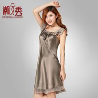Summer women's sleeveless sleepwear mulberry silk sleepwear silk nightgown female 2013 lounge
