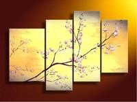 4 Piece Wall Art No Framed Modern Abstract Acrylic Flower Sakura Oil Painting On Canvas Hand-Painted Custom Scrolls Prints