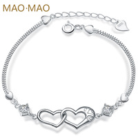 Maomao double pure silver bracelet female women's 925 silver fashion love jewelry engraving