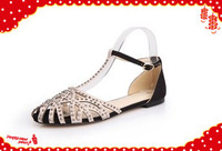 2014 new fashion sexy wedding dress rhinestone no heel flat sandals for women and women's spring summer shoes #Y9173Q