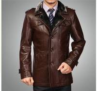 Free shipping 2013 new brand men's genuine leather sheep skin  Men's suit collar long coat M-3XL  redbrown dark brown