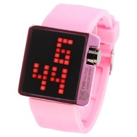 Free Shipping Trendy Mirror Red LED Sport Digital Watch with Waterproof Pink Silicone Watchband for Unisex Wholesale Watch