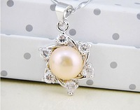 9-10MM AAA pearl pendant gold plated white and pink color pearl ear stud jewelry free shipping