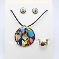 Rose Gold Plated Colorful Design Enamel Jewelry Set,(Necklace,Earrings,Ring),1set/pack
