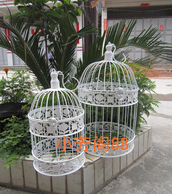 Limpar estoque frete grátis em ferro forjado decoração de casamento branco flowerlarge gaiola gaiola de pássaro(China (Mainland))