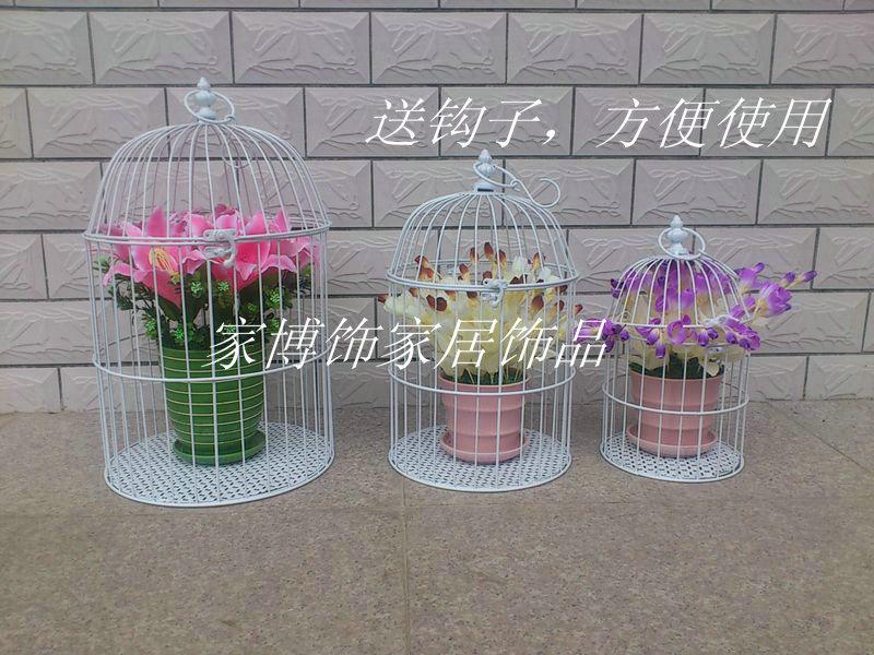 Frete Grátis Moda ferro decora??o casamento gaiola adere?os brancos Gaiolas 19 * 19 * 35 centímetros(China (Mainland))
