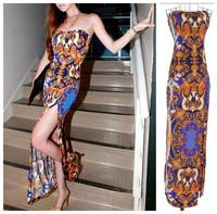 2013 sexy slim turn-down collar fashion vintage baroque print placketing tube top full dress
