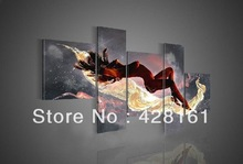 Free shipping 100% hand-made 5 panel beautiful hot nude woman nake sexy girl body oil painting on canvas wall art decoration(China (Mainland))