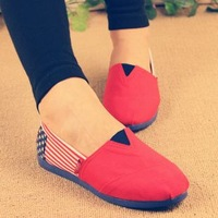 2013 spring fashion flag stripe canvas shoes lazy flats comfortable cotton-made shoes foot wrapping soft outsole