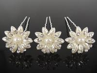Free shipping, 10pcs  bride wedding  hair accessory, crystal pearl chrysanthemum hair clips