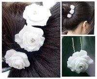 Free shipping  10PCS WEDDING BRIDAL WHITE ROSE CRYSTAL HAIR PINS PROM