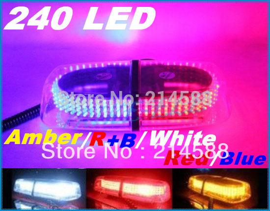 New 240 LED Mini Light Bar Amber / R+B / White / Red / Blue 7 Modes Emergency,Flash Strobe 20W Promotion(China (Mainland))