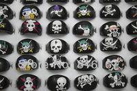 Free shipping Fashion Jewelry wholesale mixed lots 100pcs black skull skeleton resin Children rings r3012