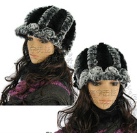 Real Genuine rex rabbit fur hat cap headgear headdress chapeau head warmer