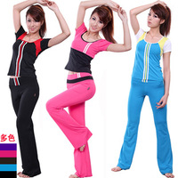 2013 aerobics fitness clothing top short-sleeve callisthenics set y1312 female
