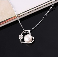 AAA 8-9MM FASHION FRESHWATER PEARL PENDANTS NECKLACES WHITE GOLD PLATED FREE SHIPPING MIN-ORDER $6 MIX ORDER