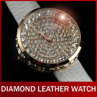 Fashion Luxury Genuine Leather Round Full Crystal Diamond Bling Analog Dress Quartz Wrist Watches Women Girl Ladies Wristwatch