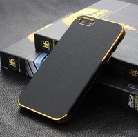 Black&Gold+Silver Luxury Deluxe Chrome Leather Case for iPhone 5 5G,Free Shipping