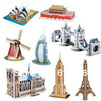3D three-dimensional puzzles children's toys hand-assembled diy cabin paper mold the famous architectural models model wholesale