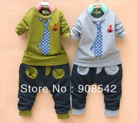 New Arrived  Korean Version Fake Tie Cotton Children\'s Clothing, Boys Suits, 4 color Free Shipping, T-shirt +pants kids set