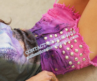 Fashion   women SPIKED STUDDED FESTIVAL HIGH WAISTED SHORTS VINTAGE