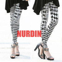 Free Shipping 2013 Vintage Decorative Pattern  Leggings Elastic Ankle Length Tights Women personality fashion skinny Pants