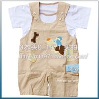 100% cotton baby children suspenders summer shorts one piece twinset short-sleeve cartoon set