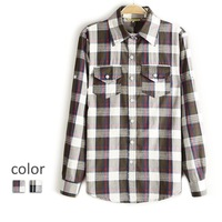 Price spring cabbage women's long-sleeve plaid shirt sweet preppy style 100% cotton shirt c8