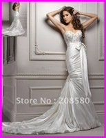 Alluring sweetheart beaded appliqued satin mermaid wedding gowns dresses chapel train W603zarabridal